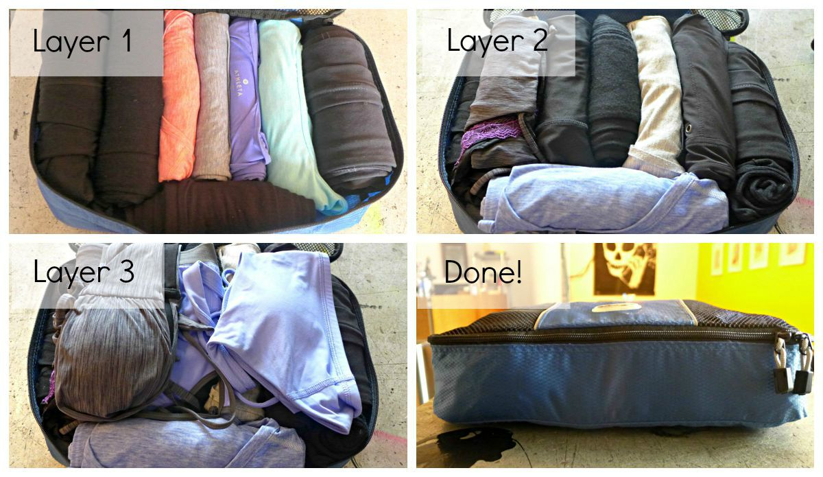 packing cubes collage labelled